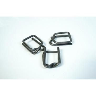 "3/4"" Self-Locking Metal Buckle for Shrink Wrap Strapping Systems - 25"