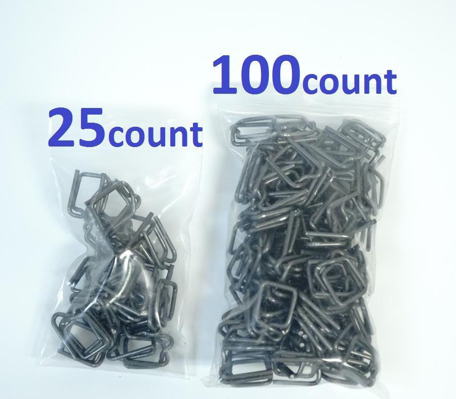 """25 3//4/"""" Self-Locking Metal Buckle for Shrink Wrap Strapping Systems"""