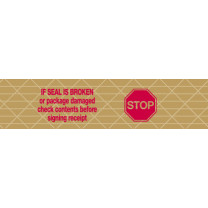 "Printed ""Stop if Seal is Broken"" Reinforced Kraft Gummed Tape 3"" x 375' Case of 8 Rolls"