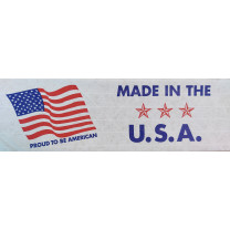 "Printed ""Made in the U.S.A."" Reinforced WHITE Kraft Gummed Tape 3"" x 375' Case of 8 Rolls"