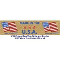 "Printed ""Made in the U.S.A."" Reinforced WHITE Kraft Gummed Tape 3"" x 375' Case of 8 Rolls"