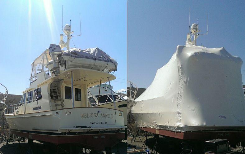 shrink wrapped cruising boat