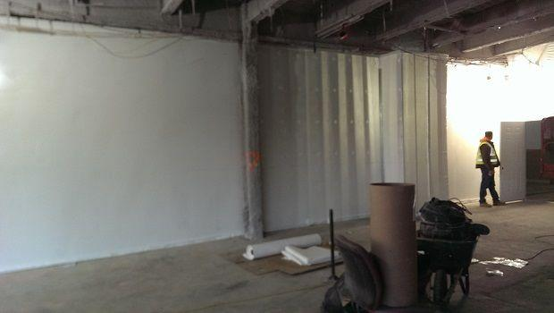 Interior Wall Under construction after shrink wrapping