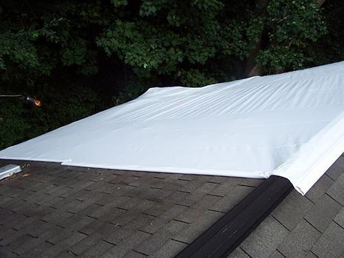 shrink wrapped roof